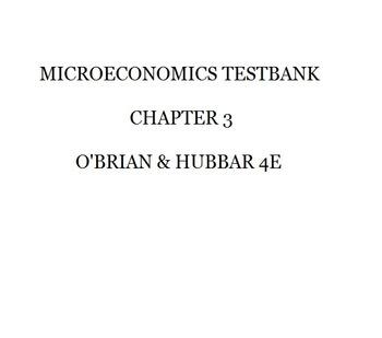 Microeconomics Testbank O'Brian & Hubbard 4e SAMPLE