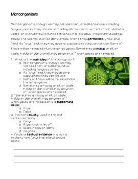 Microorganisms Informational Text and Questions
