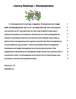 Microorganisms - Literary Reading