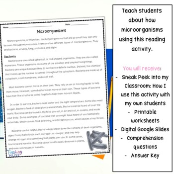 Microorganisms Nonfiction Article and Activity