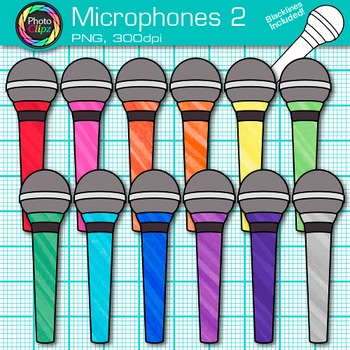 Rainbow Microphone Clip Art {Music Graphics for Worksheets & Resources} 2