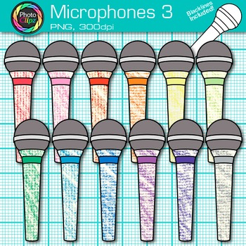 Rainbow Microphone Clip Art {Music Graphics for Worksheets & Resources} 3
