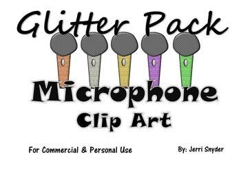 Microphone Clip Art Glitter Pack