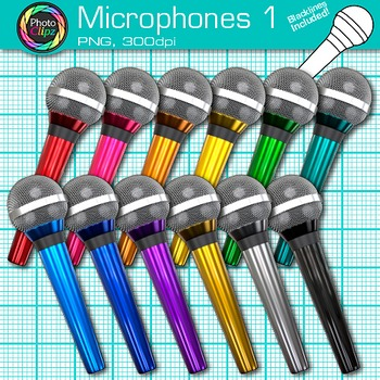 Rainbow Microphone Clip Art {Music Graphics for Worksheets