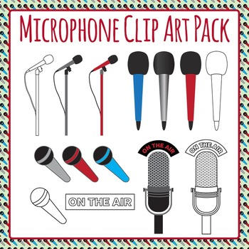 Microphones Clip Art Set for Commercial Use