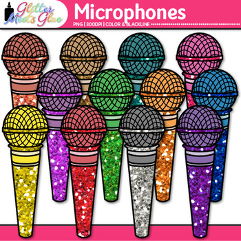 Microphones Clip Art {80's Retro Music Graphics for Worksheets & Resources}