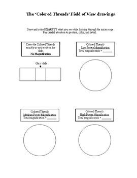 Microscope Lab #1 Intro - Letter 'e' and Colored Threads