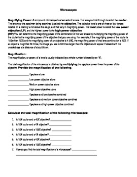 Microscope Labeling And Magnification Worksheet By Tab1323 Tpt