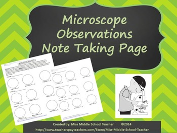 Microscope Observations Note Taking Page