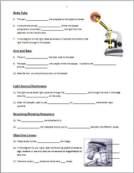 Microscope Parts - PowerPoint Worksheet {Editable} by Tangstar Science