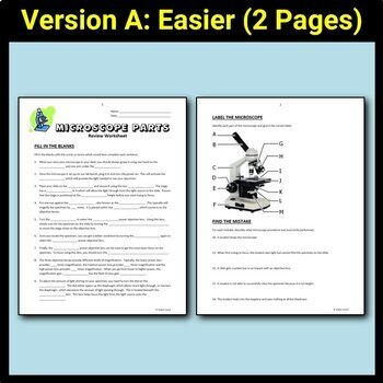 Microscope Parts - Review Worksheet {Editable} by Tangstar Science