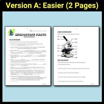 Microscope Worksheets Editable By Tangstar Science Tpt