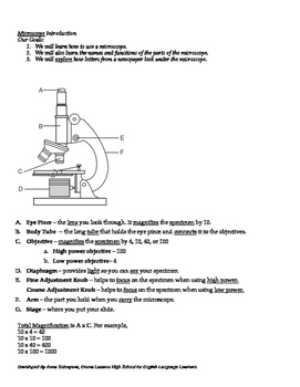 Microscope Parts and Functions (Living Environment / ESL)