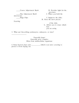 Microscope, Prokaryotic and Eukaryotic Quiz 5 Versions