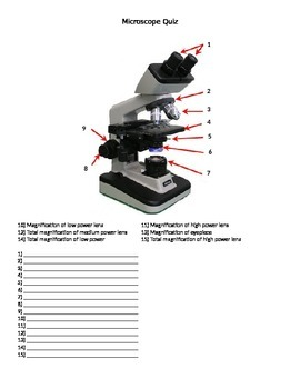 Microscope Quiz/Worksheet