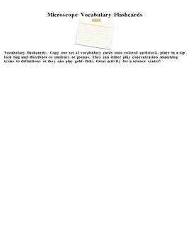 Microscope Vocabulary Flashcards