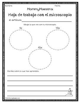 Microscope Worksheets in English & Spanish