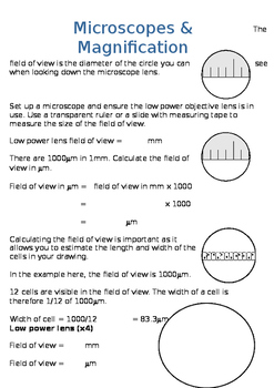 Microscopes Field of view and magnification calculations