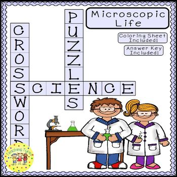 Microscopic Life Science Crossword Puzzle Coloring Workshe