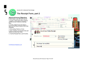 Microsoft Access 2013 Advanced: The Receipt Form, part 2