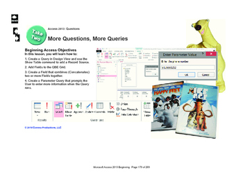 Microsoft Access 2013 Beginning: More Query Designs
