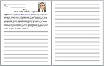 Microsoft- Bill Gates Online Reading and Notes Assignment-