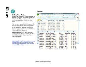 Microsoft Excel 2010 Advanced: PivotCharts