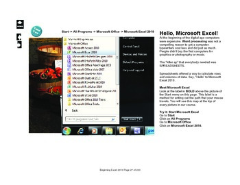 Microsoft Excel 2010 Beginning: Hello Excel!