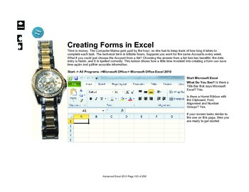 Microsoft Excel 2010: Creating Forms