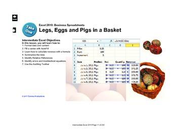 Microsoft Excel 2010 Intermediate: Legs, Eggs and Pigs