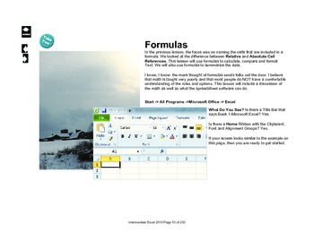 Microsoft Excel 2010 Intermediate: TEXT and DATE Formulas