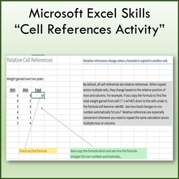 Cell References Lesson Activity for Teaching Microsoft Excel