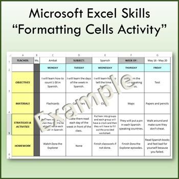 Microsoft Excel Formatting Cells Lesson