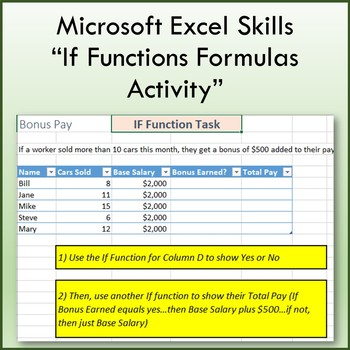 Microsoft Excel If Functions Formulas Lesson