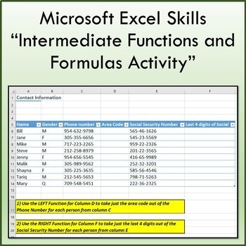 Microsoft Excel Intermediate Functions and Formulas Lesson