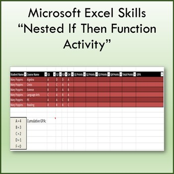 Nested If Then Function Lesson Activity for Teaching Microsoft Excel