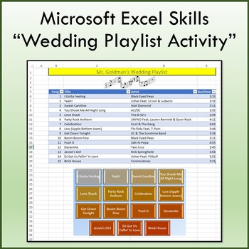 wedding playlist activity for teaching microsoft excel skills tpt