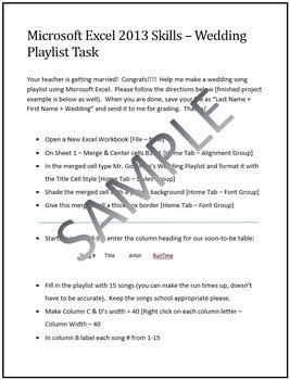 Wedding Playlist Activity for Teaching Microsoft Excel Skills