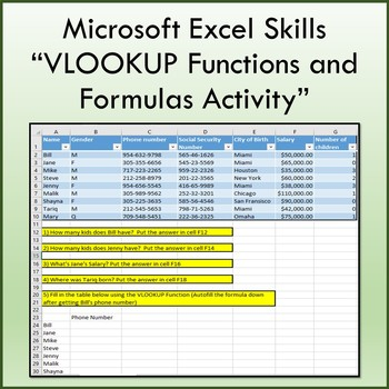 VLOOKUP Functions and Formulas Lesson for Microsoft Excel