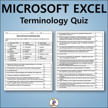 Microsoft Excel Vocabulary Quiz and Word List