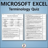 Vocabulary Quiz and Word List for Teaching Microsoft Excel