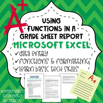 Microsoft Excel Basic Formulas Practice Project - Average Student Grade Sheet