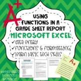MICROSOFT EXCEL: Spreadsheet Formulas Formatting Averages on Student Grade Sheet