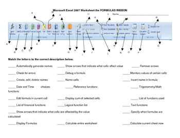 Microsoft Excel Formula Ribbon Worksheet