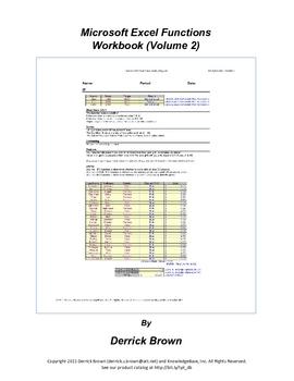 Microsoft Excel Functions Workbook, Volume 2 (BUSINESS MATH)