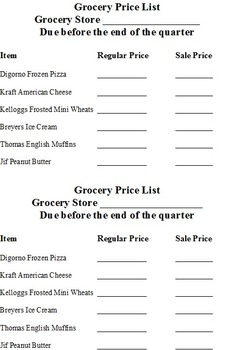 Microsoft Excel Grocery Store Money & Math Project