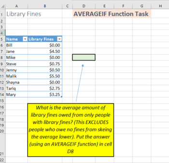 IF Functions and Formulas Activity for Microsoft Excel