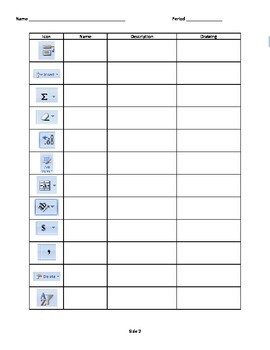 Microsoft Excel Icon Identification Worksheet