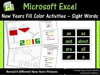 Microsoft Excel New Year Mystery Pictures (Sight Words) – Computer Lab