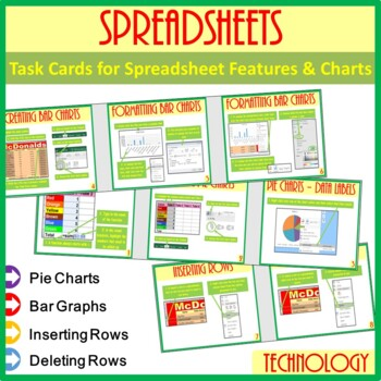 Microsoft Excel Spreadsheet Features & Chart Task Cards Help Cards